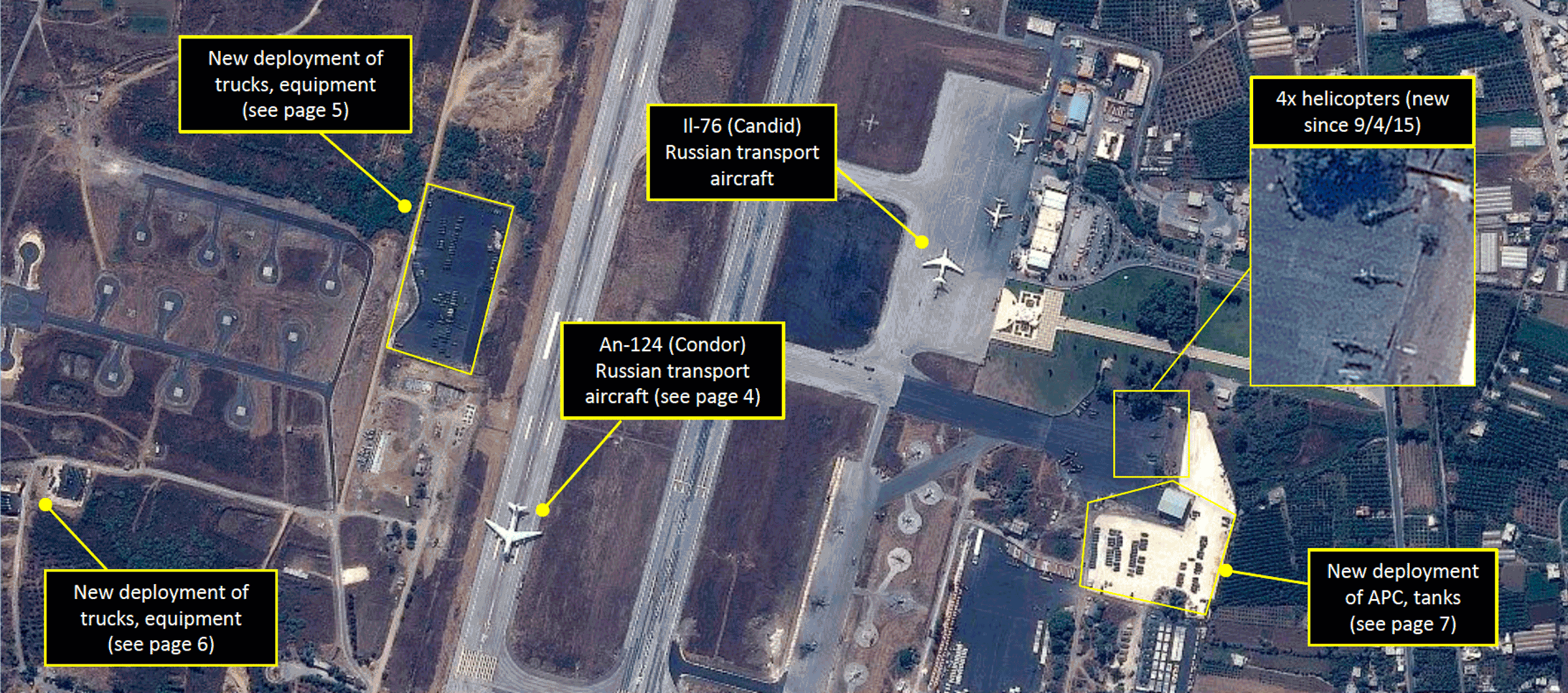 Russian planes are identified by GeoNorth Information Systems at a Syrian airbase.